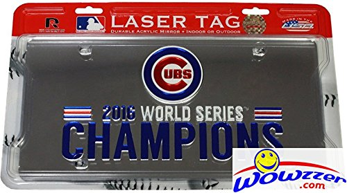Chicago Cubs 2016 WORLD SERIES CHAMPIONS Rico Laser Tag Frame! Officially Licensed Durable Acrylic Mirror that Reflects Light! Showcase your Team Spirit indoors or Outdoors! Makes a Great - Officially Acrylic Licensed