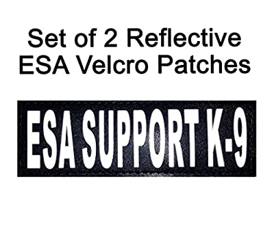 "Set of 2 Reflective ""ESA Support K-9"" Velcro Patches Emotional Support for Service dog harnesses & vests."