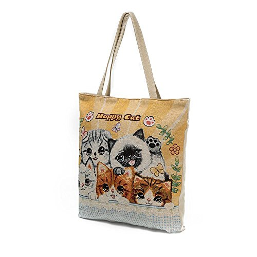 D Canvas Cat Shopping Tote Casual ZOMUSA Bag Clearance Women Printed qIzR4