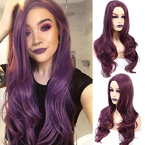 Dark Purple Wig (AZWIG Synthetic Wig Long Natural Wavy Replacement Hair Wigs Purple Wigs for Women Heat Resistant Fiber Hair Purple Color 22)