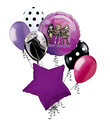 Jeckaroonie Balloons 7 pc Purple Bratz Happy Birthday Balloon Bouquet Party Decoration Yasmin Chloe