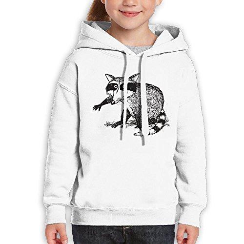 Tennis Tail Raccoon (FDFAF Teenager Youth Raccoon Hip Hop Classic Hoodie Hoodies L White)