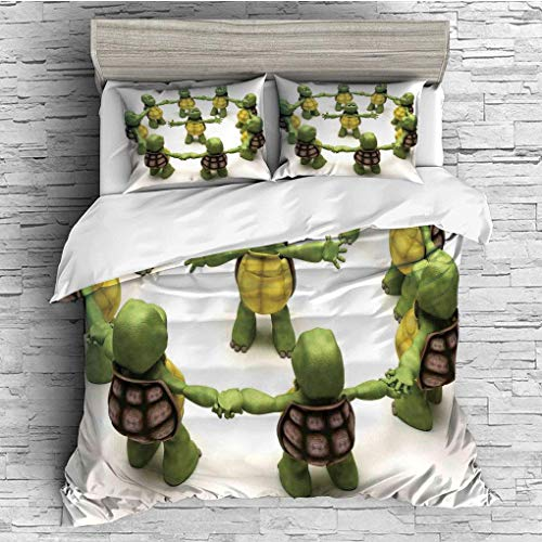 3 Pieces/All Seasons/Home Comforter Bedding Sets Duvet Cover Sets for Adult Kids/Queen/Reptile,Ninja Turtles Dancing Tortoise Team Relax Fun Happiness Childhood Kids - Turtle Ninja Queen Sheets