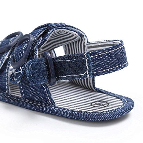Bebé Zapatos, OverDose Bebé Niños Pequeños Canvas Boys Cuna Zapatos T-atado Soft Prewalker Suela Suela Anti-Slip Zapatos Sandalias Azul