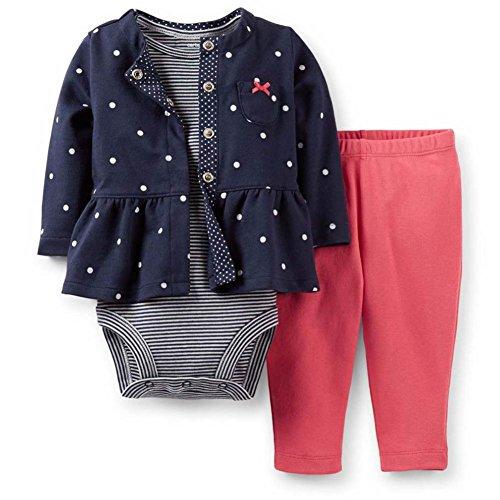 Carter's Infant Girls 3 Piece Set Blue Polka Dot Jacket L...