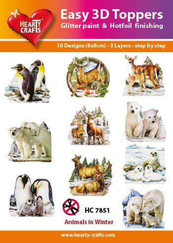 Easy 3d Toppers Hc7851 Animals In Winter 10 Large Toppers 3
