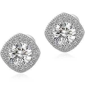 Anmao 18K White Gold Plated Square Cz Stud Earrings Setting For Women Earrings STD-01