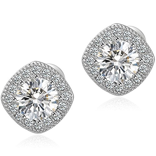 [Fashion Crystal Earrings 18K White Gold Plated Square Cz Stud Earrings Set for Women] (Costume Jewelry Diamond Rings)