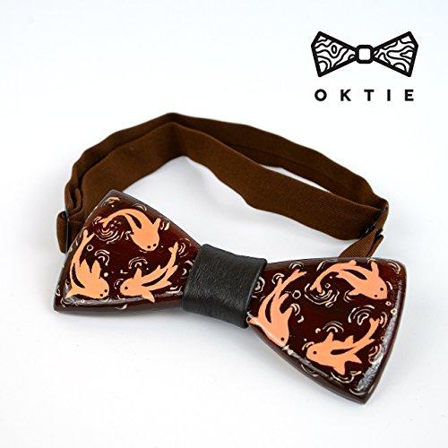 OKTIE Art Koi Handmade Wooden Bow Tie For Men Brown Wood With Gift Box -