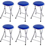 "DLUX Set of 6 Small 18"" Blue Portable Lightweight Folding Stools Cushioned/Padded Seat With Safety Lock"