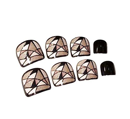 Acrylic False Toenails Shinning Fake Toe Nails Artificial Glitter Foot Nails for Women 24pcs/set