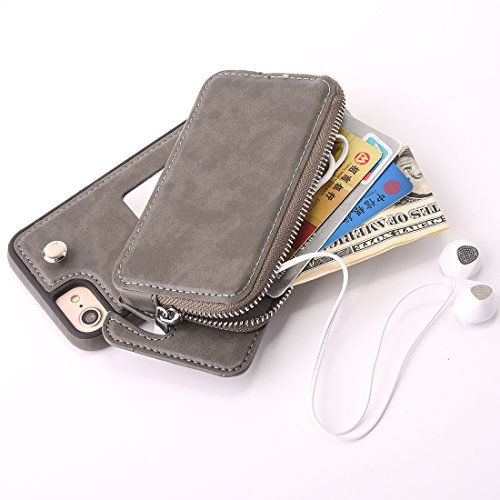 con TPU 8 rimovibile 7 di a nbsp;Custodia QianHaoQJu pelle con portafoglio nbsp;e iphone cerniera Grigio protettiva borsa rotazione Rosso rosso Per pBwqAa