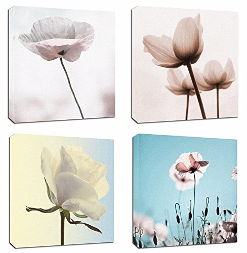 4Pcs 12x12 Canvas Wood Stretched Flower Lotus Rose Theme Pink Frame Landscape Abstract Modern Art For Home Room Office Wall Print Decor 12x12