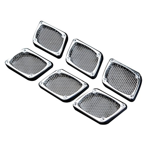 EAG E-autogrilles Universal Car Chrome Parallelogram Wire Mesh Style Vent Fender Hole Cover Side Air Flow Intake Grille Duct with Diamonds Decoration 3Pairs (61-0208) -