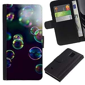 Billetera de Cuero Caso Titular de la tarjeta Carcasa Funda para Samsung Galaxy Note 4 SM-N910 / bubbles yellow purple nature black / STRONG