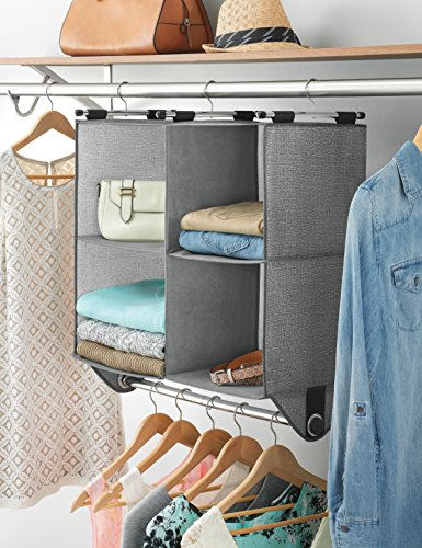 Whitmor 4 Section Fabric Closet Organizer Shelving with Built In Chrome Garment Rod - bedroomdesign.us