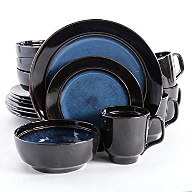Gibson Elite 92927.16RM Bella Galleria 16 Piece Reactive Glaze Dinnerware Set, Blue