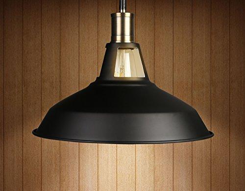 Industrial Pendant Light Vintage Fixture Lighting Metal Dome Shade (White Interior) ()