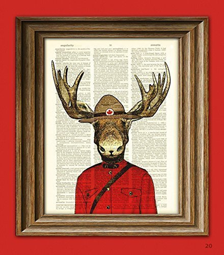 Royal Canadian Mounted Moose Mountie Police Moose illustration beautifully upcycled dictionary page book art - Canada Prints