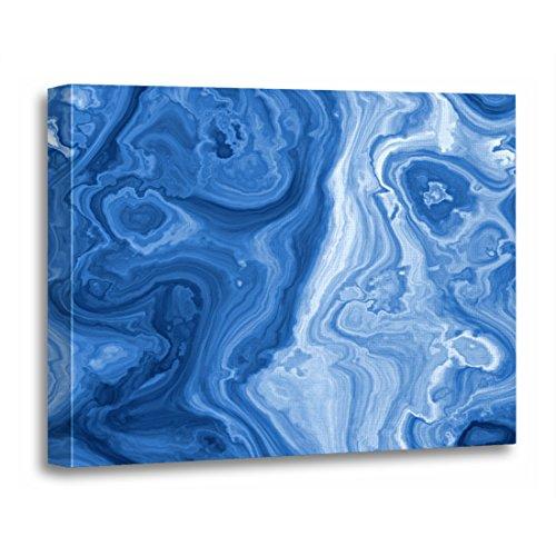 TORASS Canvas Wall Art Print Gemstone Modern Azure Blue Malachite Marble Swirls Retro Artwork for Home Decor 24