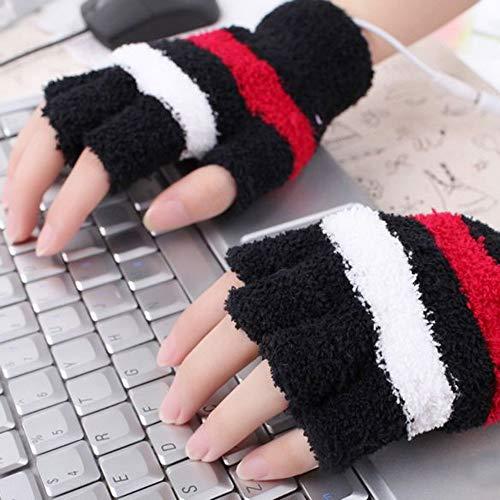 Livoty USB Heating Winter Gloves Women Hand Warm Gloves Heated Fingerless Warmer Mitten (Black)