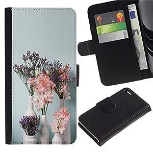 KingStore / Leather Etui en cuir / Apple Iphone 4 / 4S / Arte Flores Floreros Blanca;