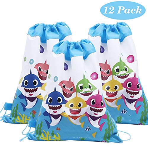 12 Pcs Baby Cute Shark Gift Bags with Drawstring Tie for Shark Theme Party ()