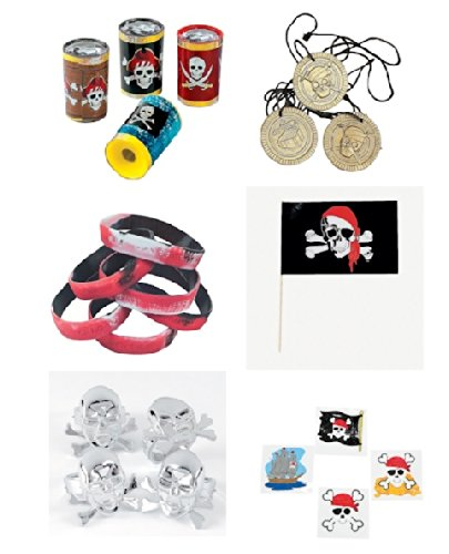 Pirate Sayings Bracelet - 108 Pc Pirate Party Favors Bundle Necklace Bracelet Rings Tattoos Flags