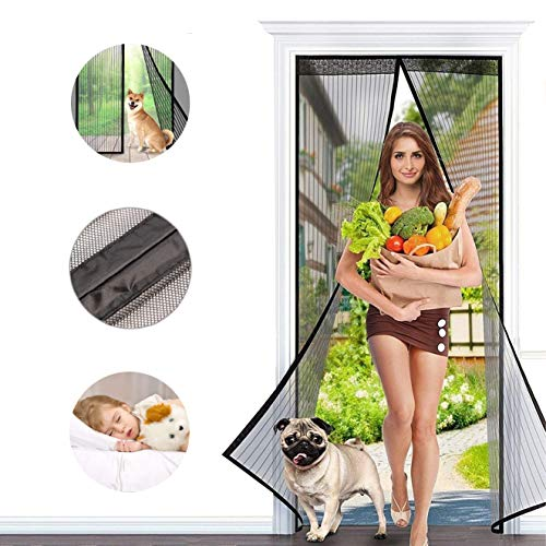 (Magnetic Screen Door, Holihifi Magnetic Bug Screen Door Mesh Curtain with Full Frame Velcro Fits Door Size Up to 34 x 82 inch Max - Magic Magnet Closure-Keep Mosquito Fly Bugs Out)