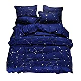Hxiang Blue Color Constellation 3PC Duvet Cover Sets,Space Style Kids Bedding Sets (Blue, Queen)