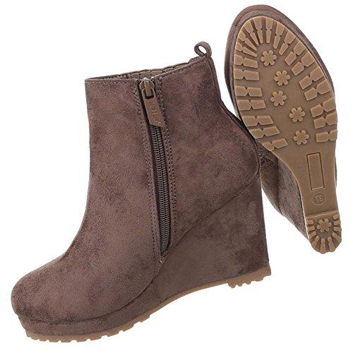 Damen Schuhe Stiefeletten Keil Wedges Plateau Boots Modell Nr.1 Hellbraun