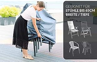 Chefarone Funda para sillas jardín - Funda impermeable para muebles de jardín - Fundas para sillas apilables - Tela funda gruesa para hasta 4 sillas - 67x67x110cm azul claro - Cordon cierre y funda: Amazon.es: Hogar
