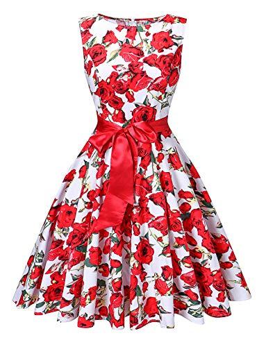 (V fashion Women's 1950s Vintage Rockabilly Dresses Audrey Hepburn Style Swing Dress Red Rose)