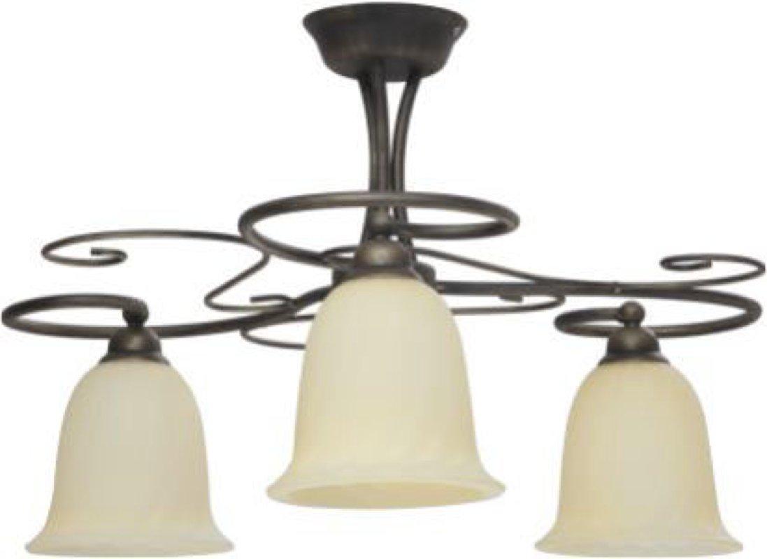 Deckenleuchte rustikal mediterran Ø60cm Höhe 37cm 3xE27 Metall Glas matt Deckenlampe Für LED-Leuchtmittel geeignet Innen Beleuchtung Wohnzimmer Flur Esszimmer