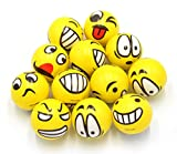 Set of 12 - Fun Emoji Face Stress Balls Emoji Hand Wrist Stress Reliefs Squeeze Balls for Kids and Adults at School or Office Holiday Gift Party Favors (Yellow Color Random Emotion Faces)