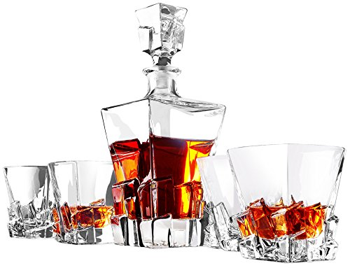(Titan Whiskey Decanter Set, 5-Piece Lead-Free Crystal Clarity Glass Set with Stopper - Barware Gift for Men - Double Old Fashioned Rocks Glasses for Scotch Liquor, Irish Whisky, Bourbon or Brandy)