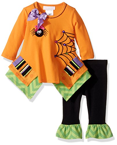 Bonnie Baby Baby Girls' Halloween Knit Appliqued Legging Set, Spider, 3-6 (Halloween Baby Girl Clothes)