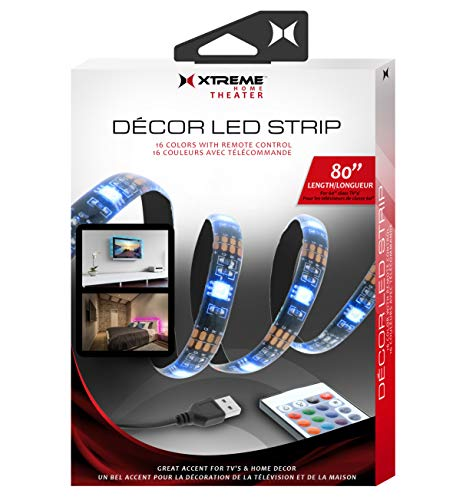 Xtreme LED Strip Lights 6.6ft for up to 60 in TV, USB LED TV Backlight Kit with Remote - 16 Colors Water & Dust Resistant