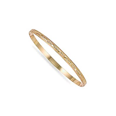 Jewelco London Ladies Solid 9ct Yellow Gold Diamond Cut D-Shape Slave 4mm Bangle Bracelet siyht