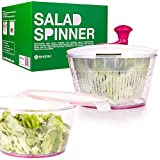 Salad Spinner - Manual Lettuce Spinner Dryer, Fruits and Vegetables Dryer - Drain Lettuce and Vegetables - Large Bowl, Stop Button - Storage Lid Included