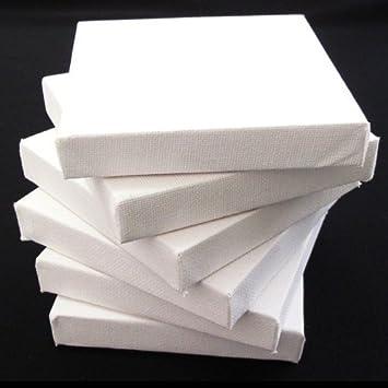 Ascot Canvas - Set di 6 tele per dipingere, 10 x 10 cm, bianco ...