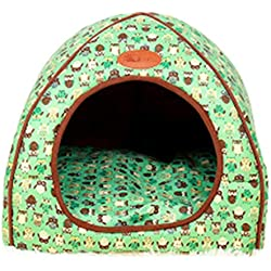 Foldable Dog Bed Sofa Dog House for Small Dog Or Cat Cute Prints Cover Removable Dog Green L 5.0kg pet