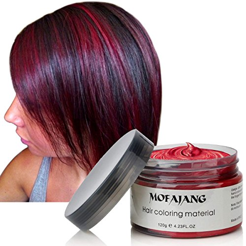 Hair Coloring Wax, Wine Red Disposable MOFAJANG Instant Matte Hairstyle Mud Cream Hair Pomades for Kids Men Women to Cosplay Nightclub Masquerade Transformation