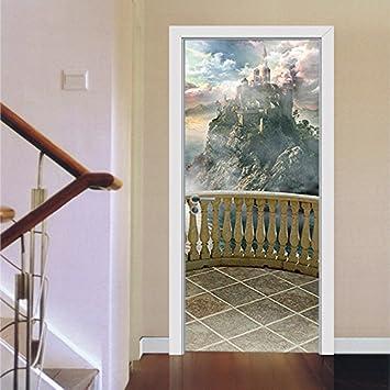Balkon Landschaft kreative Tür Aufkleber Schlafzimmer Tür ...