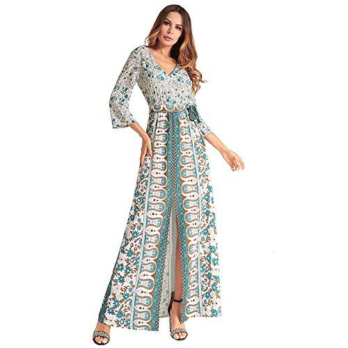 Para Imprimir Fiesta JIALELE Collar Fiesta Albaricoque Poner Mangas Vestido V Mujer Abajo Vestido De Vestidos Siete Mujer Y RIYqxSz