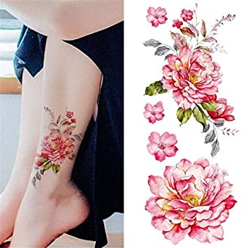 45f3ccc99 Amazon.com : Born Pretty 1 Sheet Waterproof Temporary Tattoo Sticker Watercolor  Peony Pattern DIY Arm Body Art Decal : Beauty