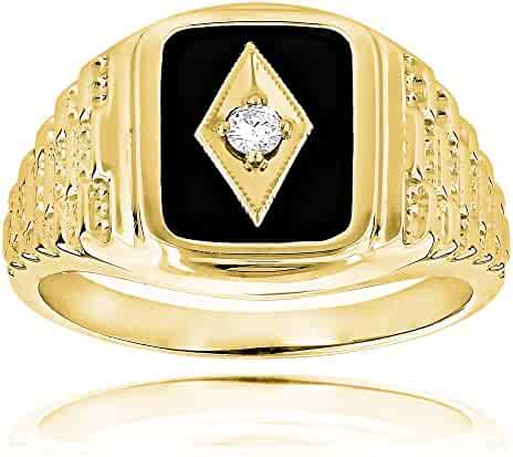 00beced000f Luxurman Black Natural Onyx And Real 0.1 Ctw Diamond 14K Gold Mens Vintage  Ring For Him