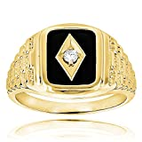 Luxurman Black Natural Onyx And Real 0.1 Ctw Diamond 14K Mens Vintage Ring For Him (Yellow Gold Size 12)