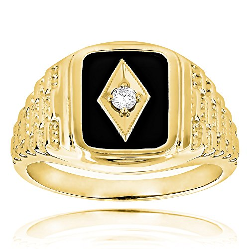 Luxurman Black Natural Onyx And Real 0.1 Ct Diamond 14K Mens Vintage Ring For Him (Yellow Gold Size 11.5)
