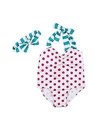 EITC Little Girls Summer Swimwear 2pcs Polka Dots Swimsuit with Cute Headband